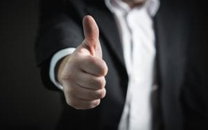 A person doing a thumbs up