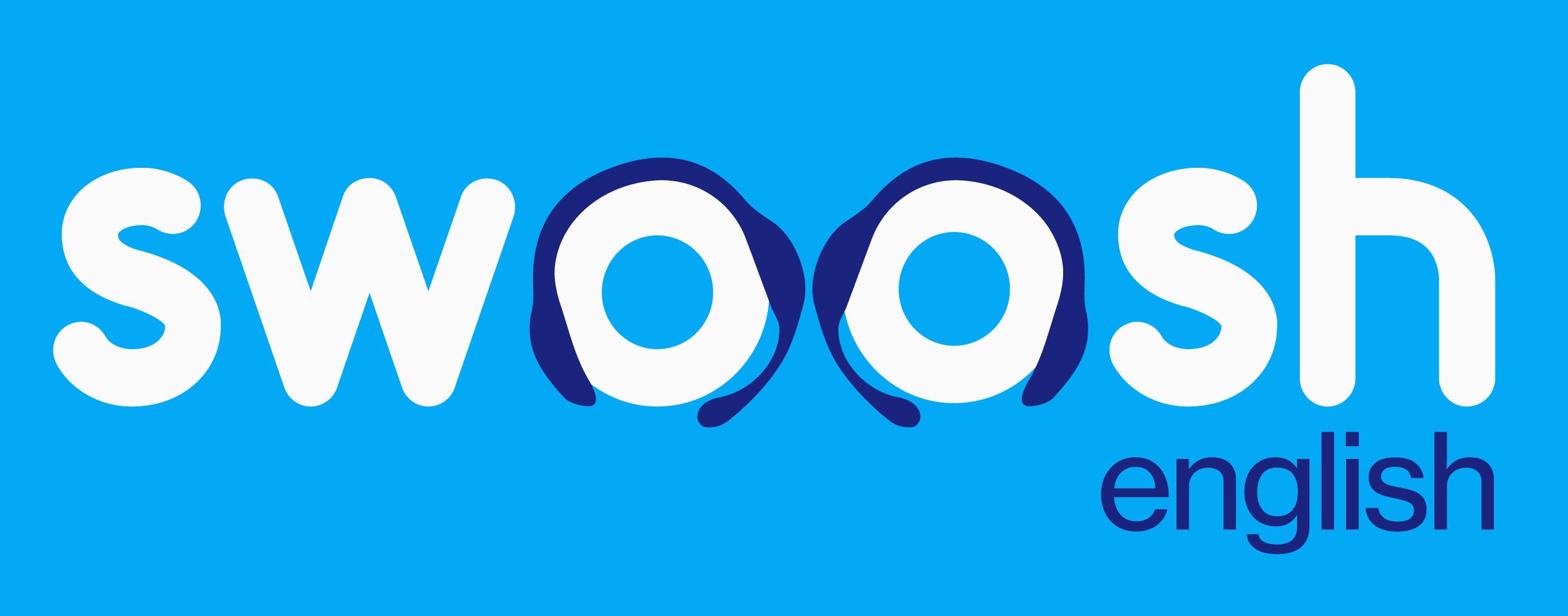 Swoosh English Logo Blue Background