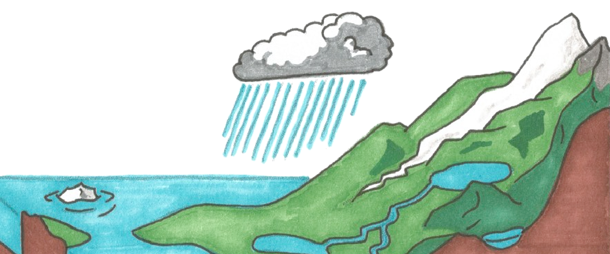 A place where there is a mountain, a sea, and a cloud that is raining