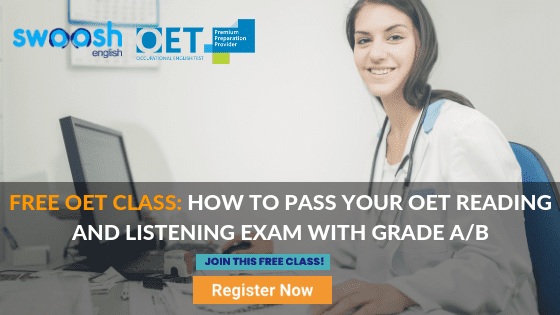 Free OET Class: How to pass your OET reading and listening exam with grade A/B image banner