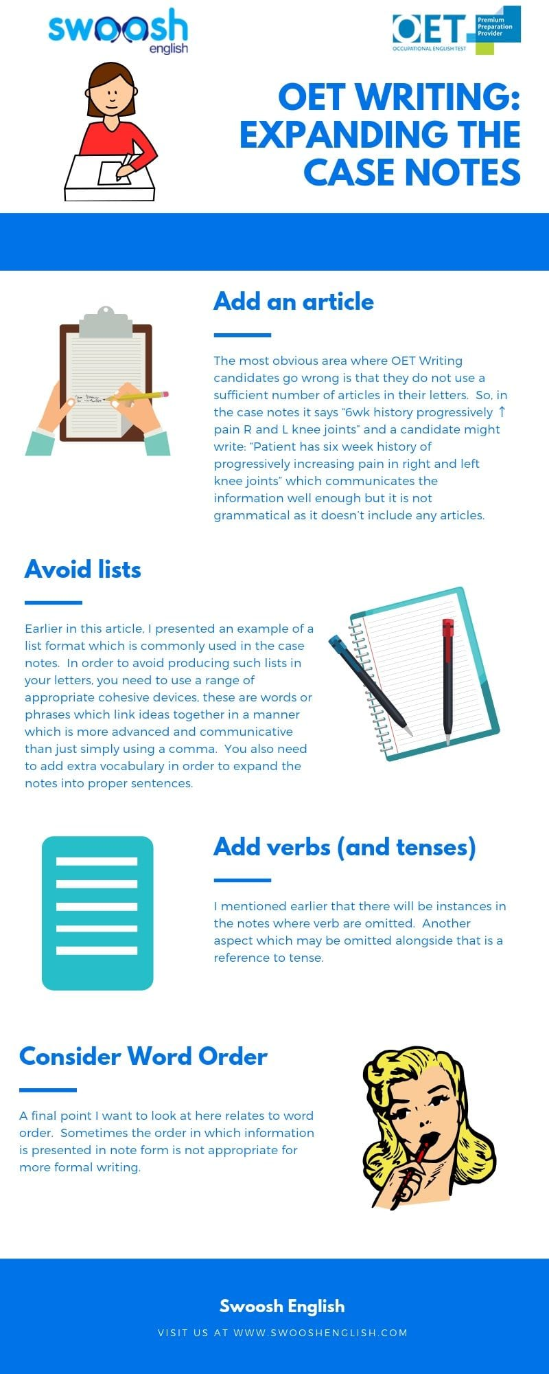 OET Writing: Expanding the Case Notes infographic