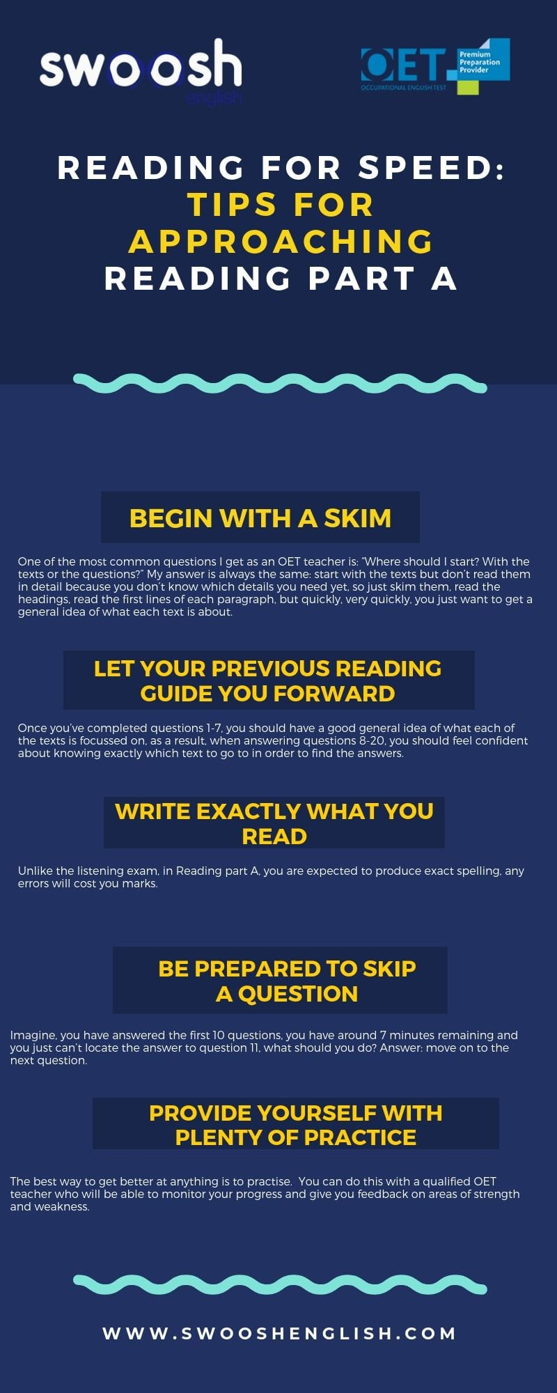 Reading for Speed: Tips for approaching reading part A infographic