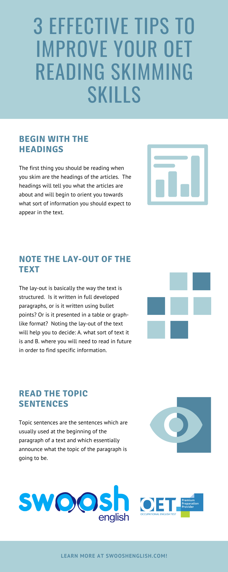 Three Effective tips to improve your OET reading skimming skills infographic