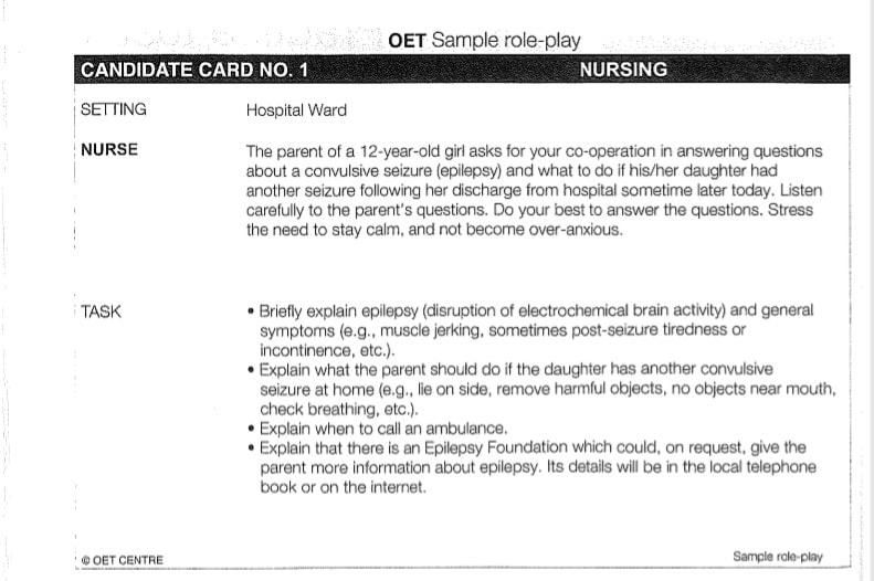 OET exam Speaking Role Play Card