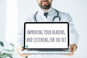 A doctor carrying a laptop with Improving your Reading and Listening for the OET written on it