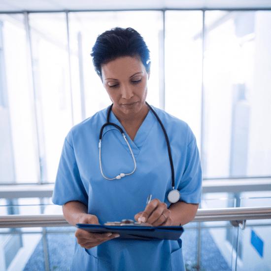 nurse writing