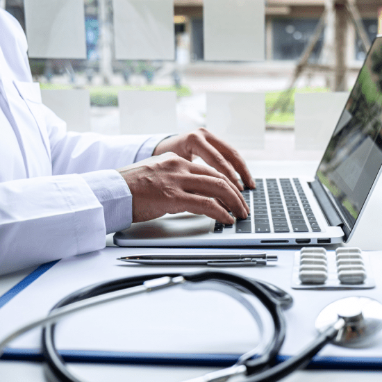 doctor on a laptop